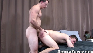 Military stud rides his man raw after giving a wet blowjob